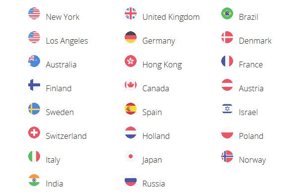SaferVPN Countries